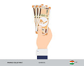 200 Indian Rupee Banknote. Hand gives money. Flat style vector illustration. Salary payout or corruption concept.