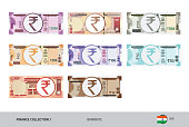 Indian Rupee Banknote set. Flat style highly detailed vector illustration. Isolated on white background. Suitable for print materials, web design, mobile app and infographics.
