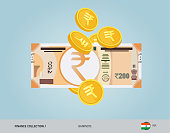 200 Indian Rupee Banknote with flying coins. Flat style vector illustration. Finance concept.