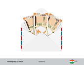 200 Indian Rupee Banknotes in envelope. Flat style opened white envelope with cash. Salary payout or corruption concept.