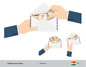 200 Indian Rupee Banknotes in envelope hold in hand. Group of flat style opened white envelopes with cash. Salary payout or corruption concept.