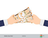 200 Indian Rupee Banknotes in the hands. Flat style vector illustration. Finance concept.