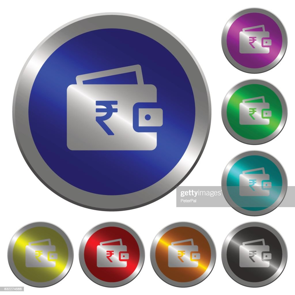 Indian Rupee wallet luminous coin-like round color buttons