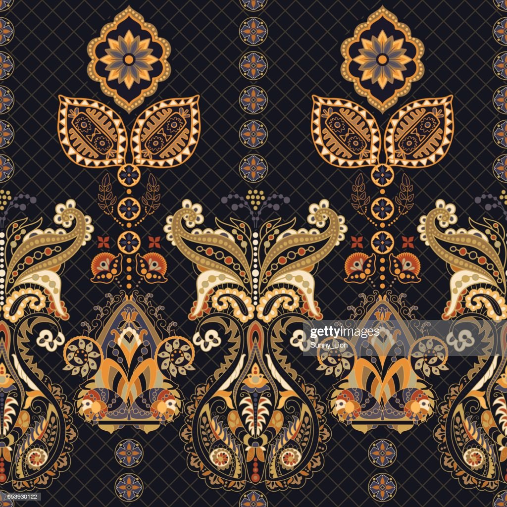 Indian Seamless Pattern Wallpaper With Paisley Ethnic Style Vector Art
