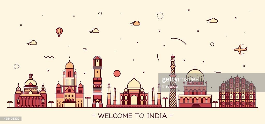 Indian skyline vector illustration linear style