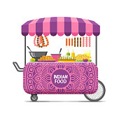 Indian street food cart. Colorful vector image