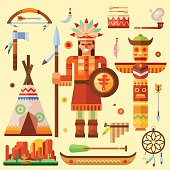 Indian theme illustration set for thanksgiving day