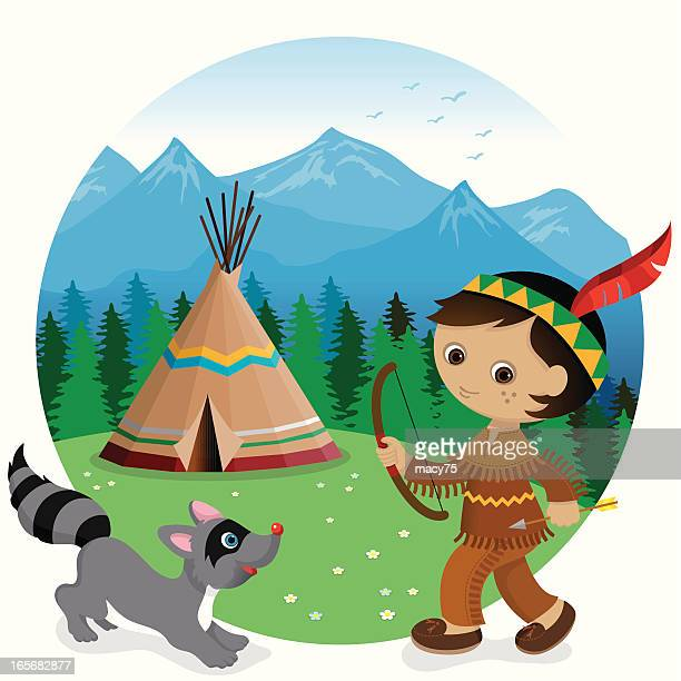 Indian tipi boy and raccoon