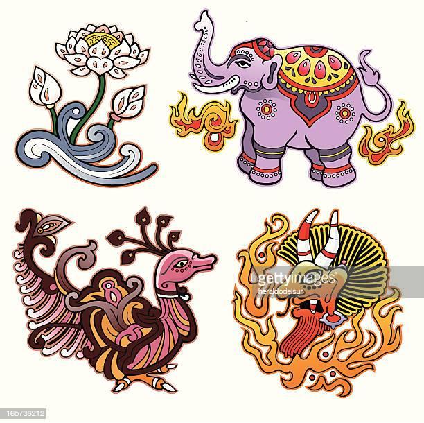 Indische traditionelle dekorative Motiven.