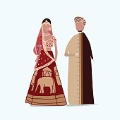 Indian traditional wedding dress vector