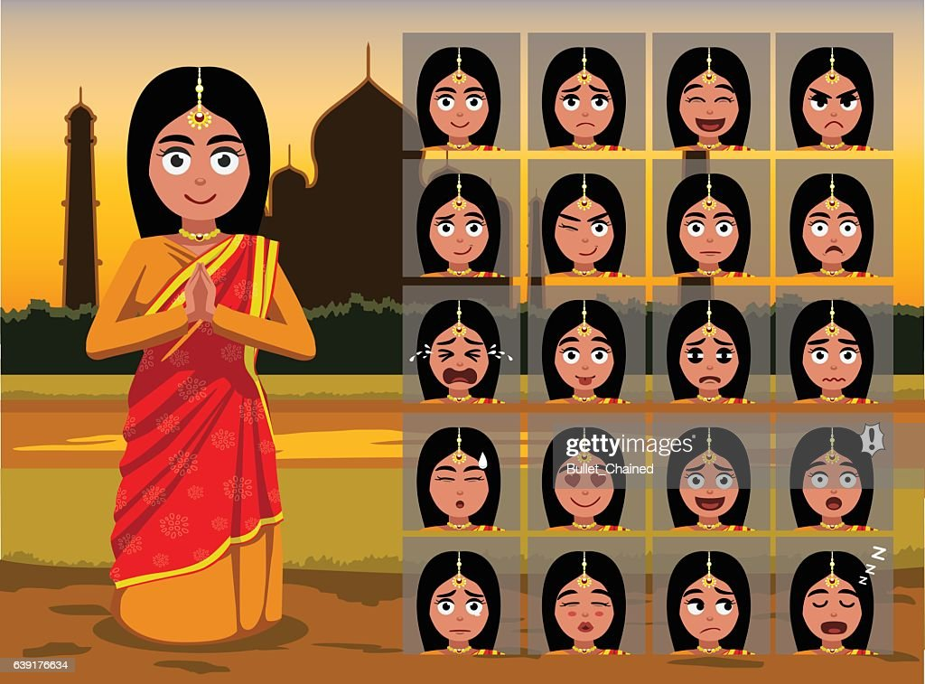 Indian Traditional Woman Cartoon Emotion faces Vector Illustration