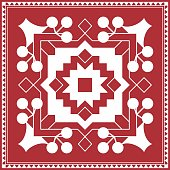 Indian tribal painting. Warli painting design of Rangoli
