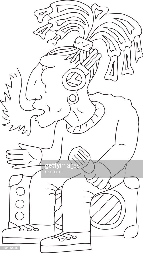 Indian tribe chief aztec fire coming from mouth, holding microphone, sitting on stereo amplifiers, doodle, hand drawn sketch, cartoon
