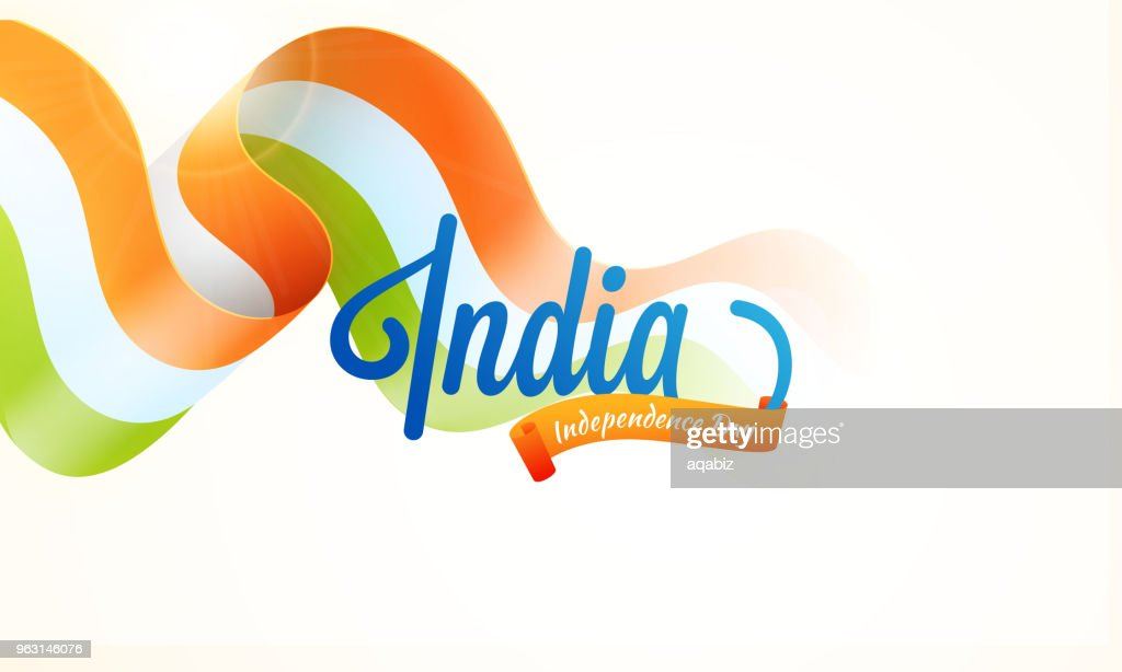 Indian Tricolors waving ribbon with stylish text India.