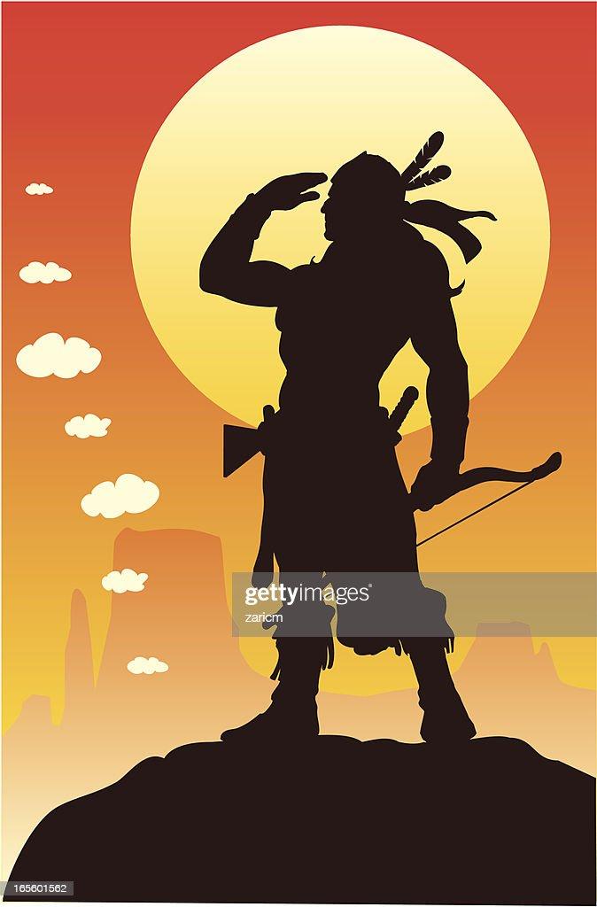 Indian warrior : stock illustration