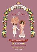Indian Wedding Bride & Groom Cartoon Romantic Dark Pink Invitation