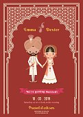 Indian Wedding Bride & Groom Cartoon Save The Date Card