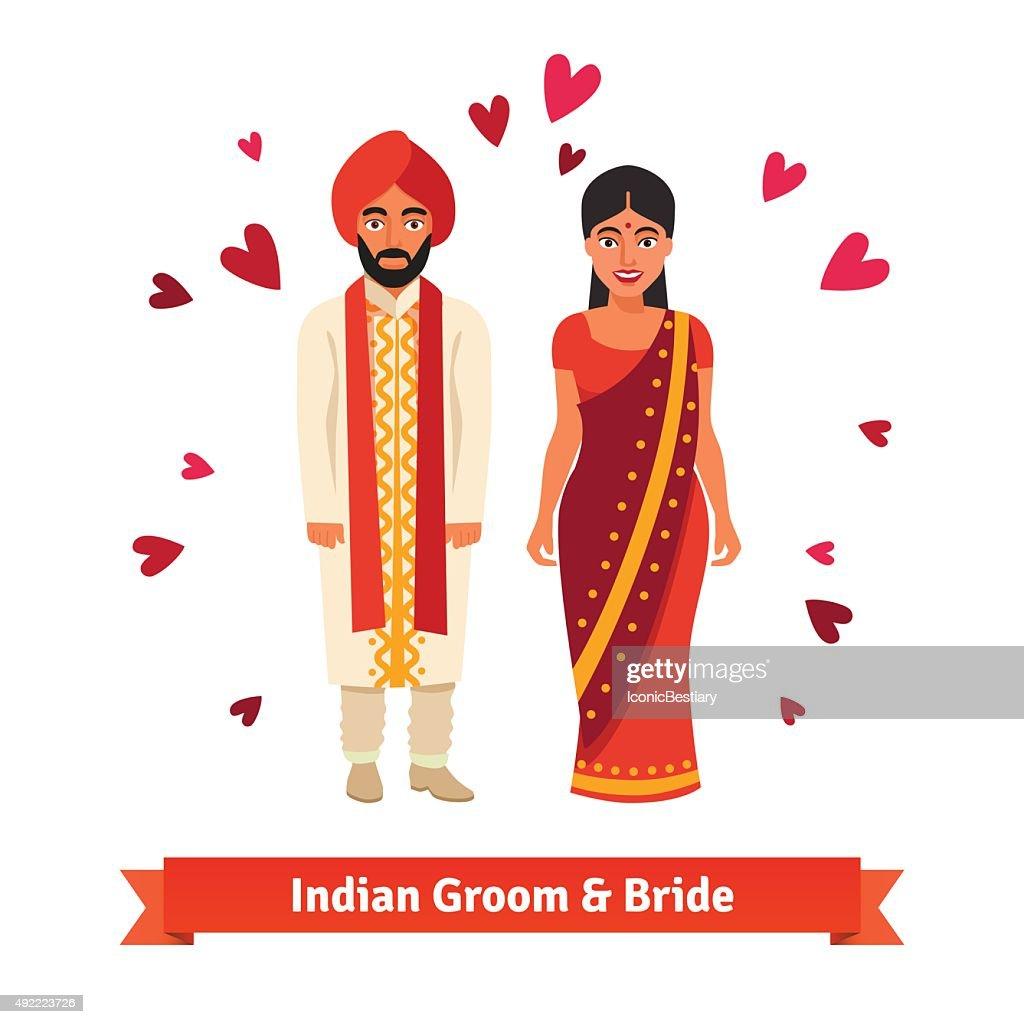 Indian wedding, bride, groom in national costumes