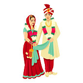 Indian wedding couple in traditional dresses. Vector design for wedding invitation