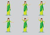 Indian Woman Wearing Sari Vector Character Illustration