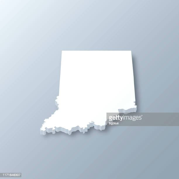 indiana 3d map on gray background - indiana stock illustrations