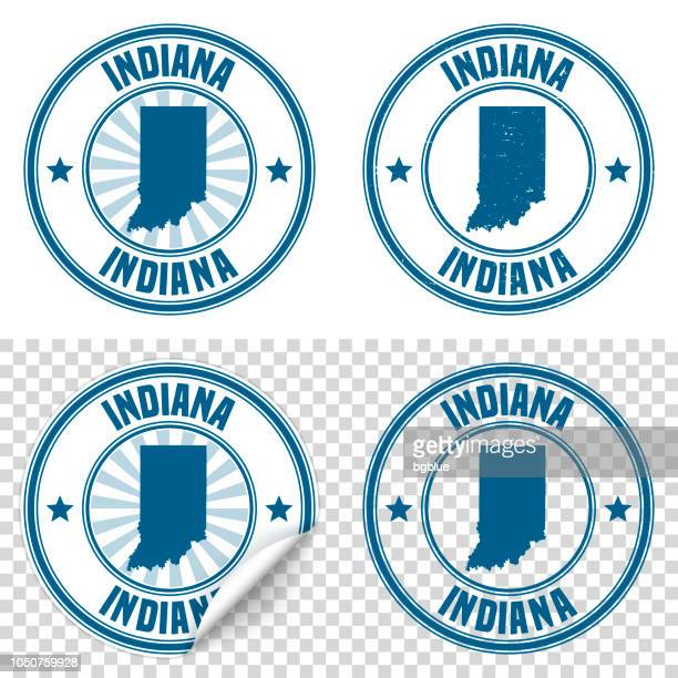 indiana - blue sticker and stamp with name and map - indiana stock illustrations