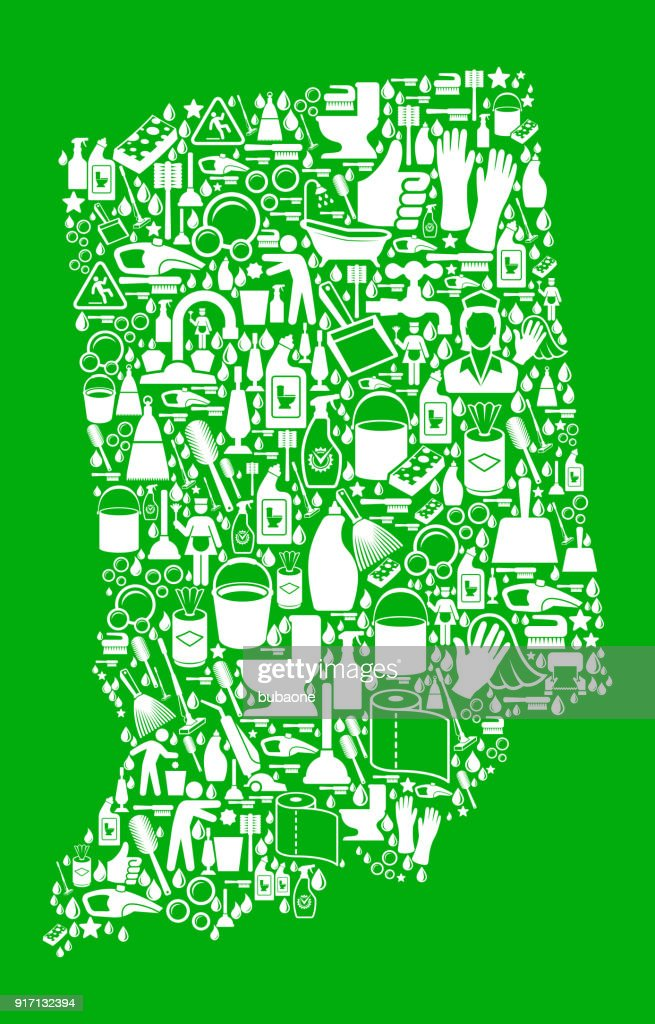 Indiana Cleaning and Chores Green Vector Icon Pattern : stock illustration