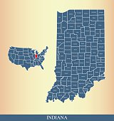 Indiana county map outline vector illustration in creative design