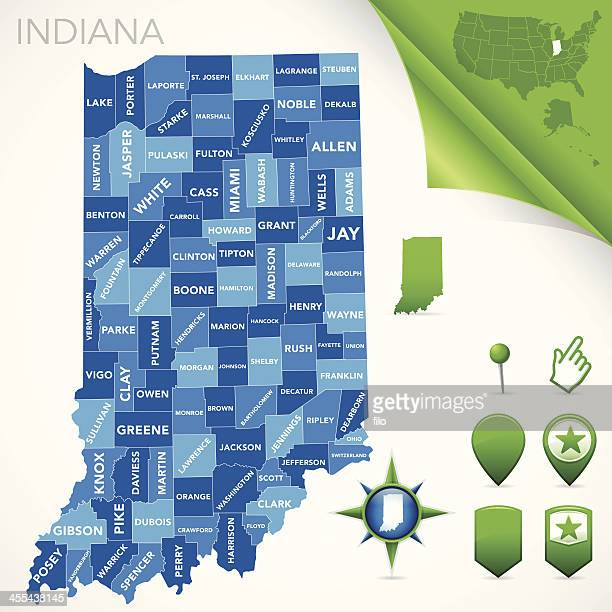 indiana county map - indiana stock illustrations