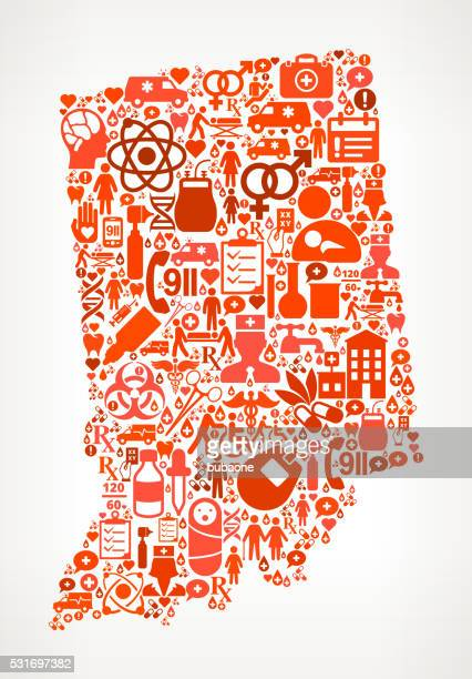 indiana healthcare and medical red icon pattern - cardiac conduction system stock illustrations