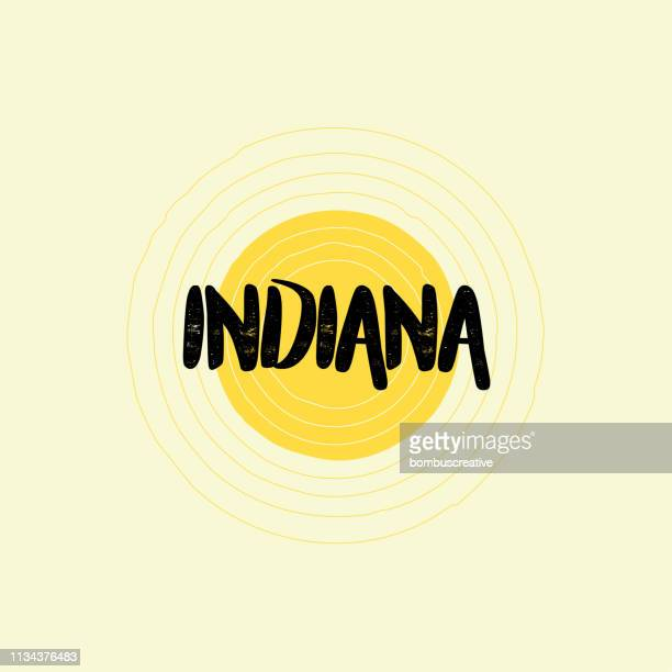 indiana lettering design - indiana stock illustrations