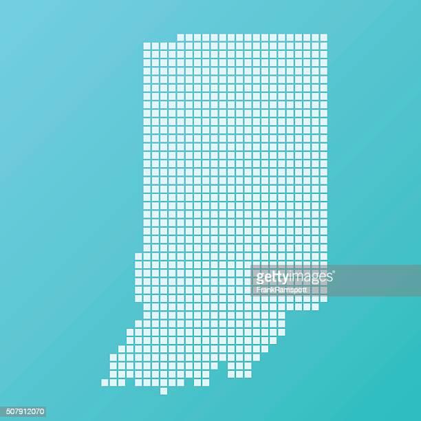 indiana map basic square pattern turquoise - indiana stock illustrations