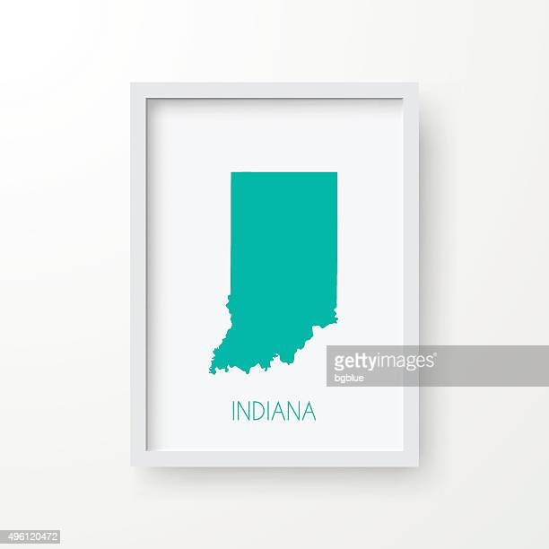 indiana map in frame on white background - indianapolis stock illustrations, clip art, cartoons, & icons
