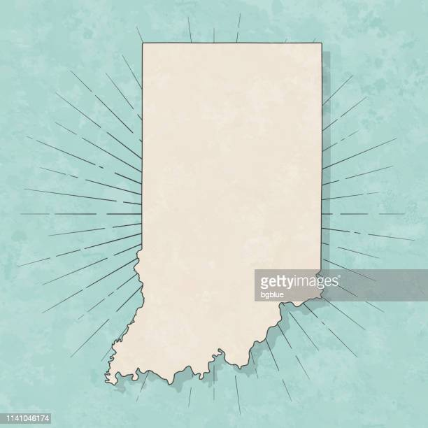 indiana map in retro vintage style - old textured paper - indiana stock illustrations