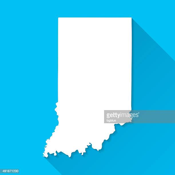 indiana map on blue background, long shadow, flat design - indiana stock illustrations