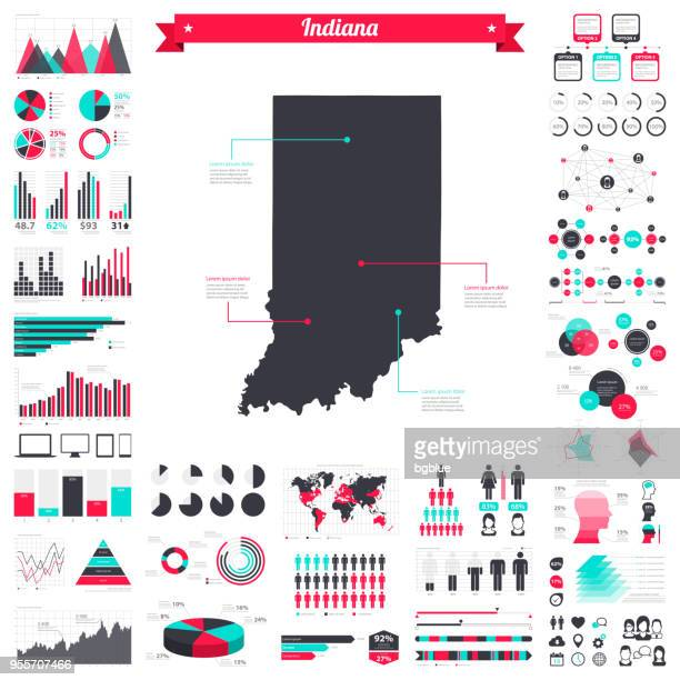 indiana map with infographic elements - big creative graphic set - indiana stock illustrations