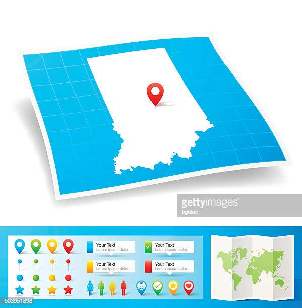 indiana map with location pins isolated on white background - indianapolis stock illustrations, clip art, cartoons, & icons