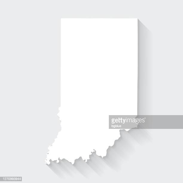 indiana map with long shadow on blank background - flat design - indiana stock illustrations