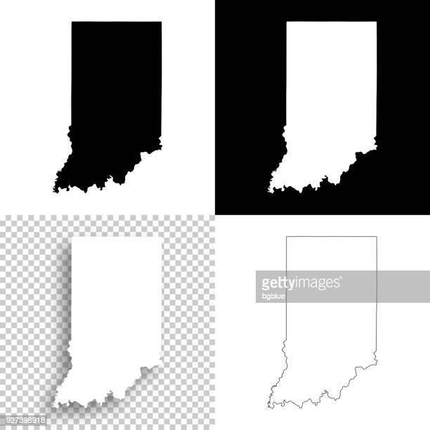 indiana maps for design - blank, white and black backgrounds - indiana stock illustrations