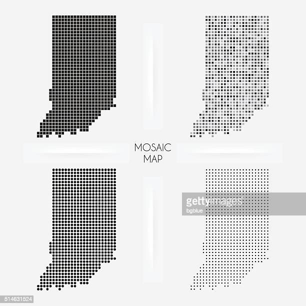indiana maps - mosaic squarred and dotted - indiana stock illustrations
