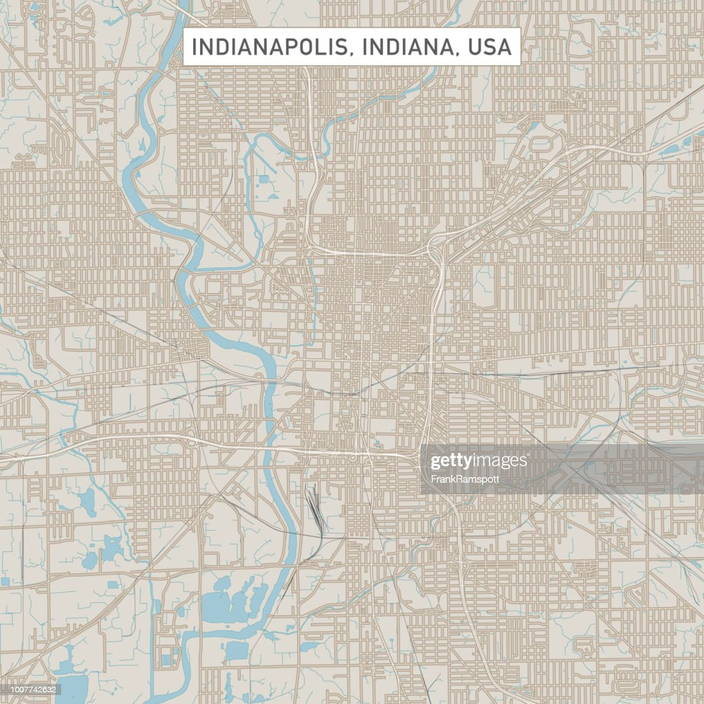 Indianapolis Indiana Us City Street Map Vector Art Getty Images