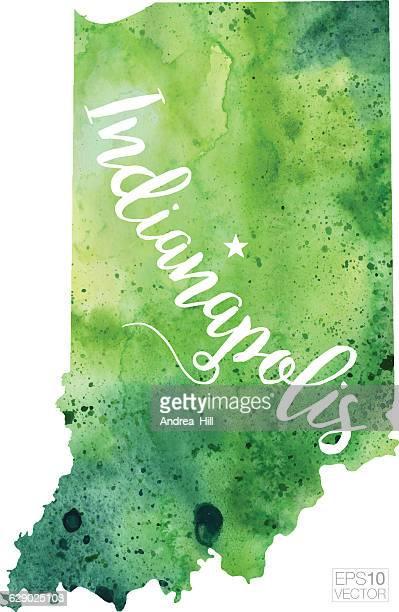 indianapolis, indiana usa vector watercolor map - indianapolis stock illustrations, clip art, cartoons, & icons