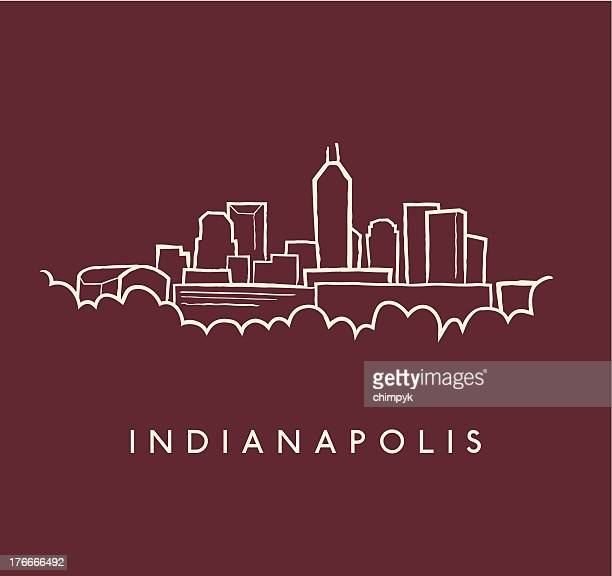 indianapolis skyline sketch - indianapolis stock illustrations, clip art, cartoons, & icons