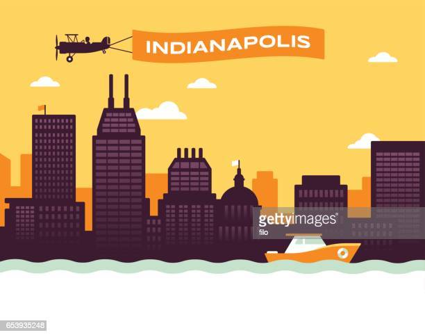 indianapolis skyline - indianapolis stock illustrations, clip art, cartoons, & icons