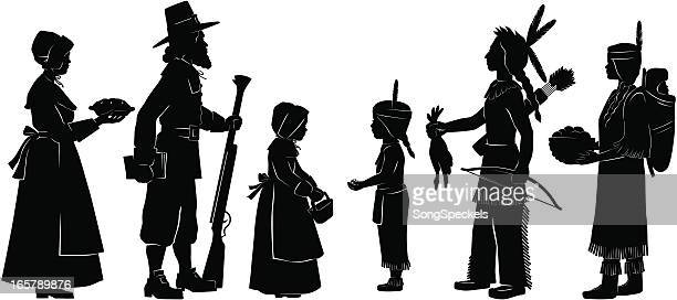 indians and pilgrims on thanksgiving - pilgrim stock illustrations, clip art, cartoons, & icons