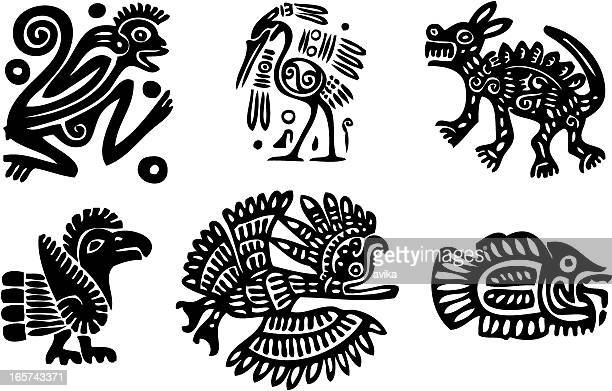 indians traditional ornaments - indigenous north american culture stock illustrations