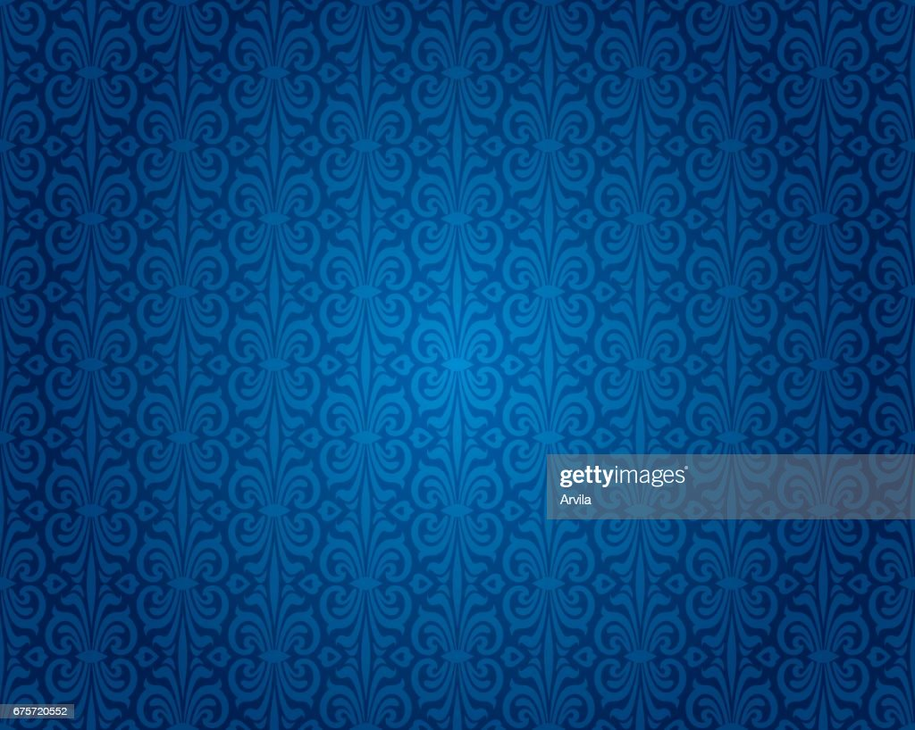Indigo blue vintage wallpaper background pattern design