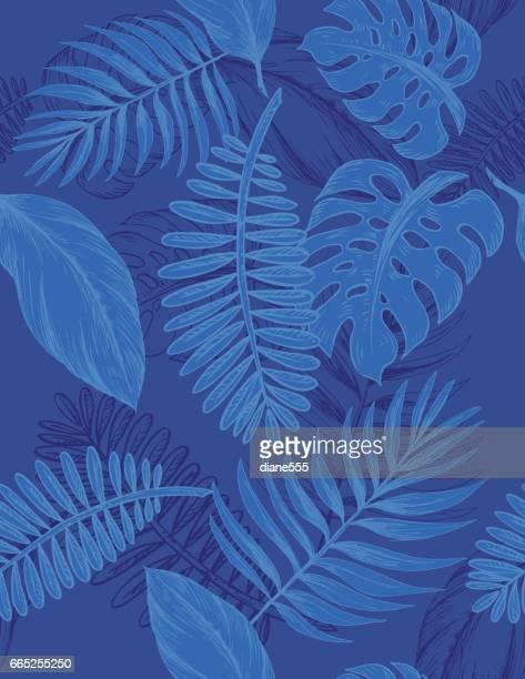 ilustraciones, imágenes clip art, dibujos animados e iconos de stock de indigo mano dibujado hojas de patrones sin fisuras - azul marino