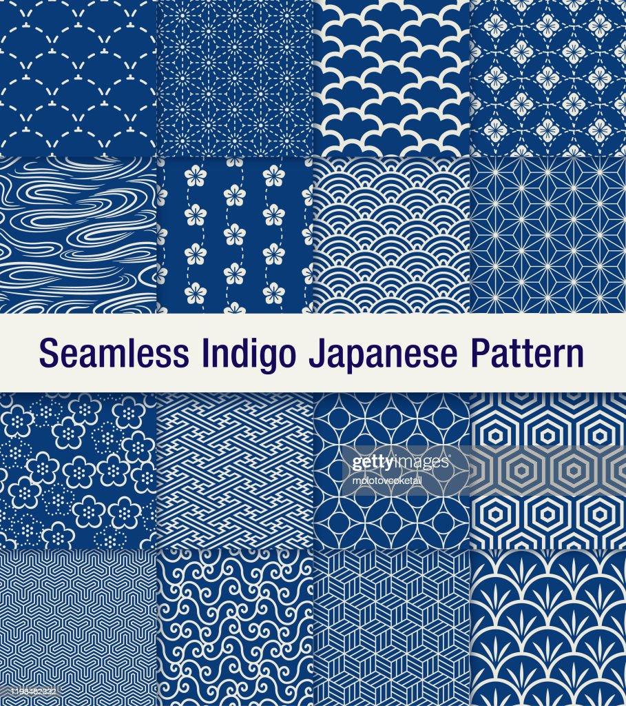 indigo japonês padrão sem costura conjunto : Ilustração