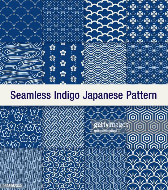 indigo japanese seamless pattern set - traditional clothing stock illustrations